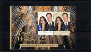 Australia 2011 Royal Wedding 2v Sheet Prince William Catherine Middleton photo
