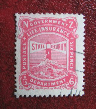 Zealand 1905 Life Insurance 6d Pink photo