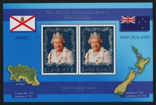 Zealand 2068b Queen Elizabeth 80th Birthday,  Flag,  Map photo