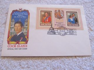 Royal Wedding Of Charles And Diana Souvenir Sheet Fdc From Cook Is. photo