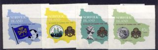 Norfolk Island 225 - 8 Girl Guides,  Flag,  Map,  Crest,  Lady Olive Baden - Powell photo