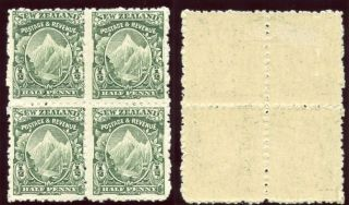 Zealand 1900 ½d Green Perf 11 Block Of Four Lower Pair.  Sg 273b. photo