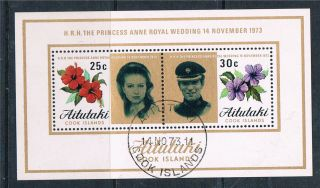 Aitutaki 1973 Royal Wedding Sg Ms 84 Cto photo