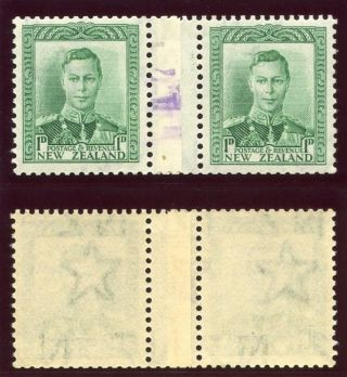 Zealand 1938 Kgvi 1d Green Coil Pair Rubber - Stamped 17.  Sg 606 Var. photo