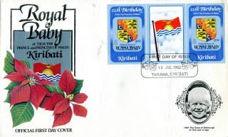 Kiribati 1982 Birth Of Prince William 50c Gutter Pair First Day Cover (a) photo