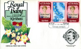 Kiribati 1982 Birth Of Prince William 12c Gutter Pair First Day Cover (a) photo