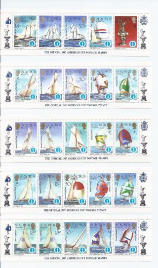 Solomon Islands 570 - 574 10 Strips Of 5 photo