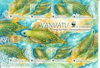 Vanuatu 2013 Orange Spot Filefish 8v Sheetlet Wwf Fish Nature Marine Corals photo