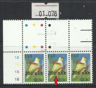 Unlisted Overprint Shift Variety Fiji 20c/23c Provisional Bird Stamp (01.  078 photo
