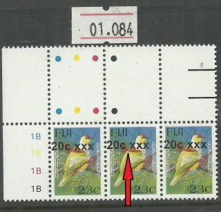 Unlisted Overprint Shift Variety Fiji 20c/23c Provisional Bird Stamp (01.  084) photo
