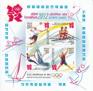 India 2012 London Olympics 4v S/s Games Rowing Surfing Badminton Volleyball photo