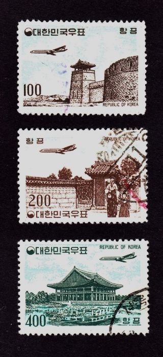 Korea Scott C24,  C25,  C26 - Air Post - Airplane Over Famous Sites photo