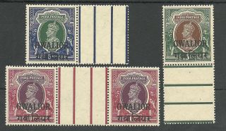 India /gwalior Sg114 - 6 The 1948 Gvi India O/prints Fresh Marginals Cat £186 photo