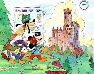 (70029) Disney Bhutan Minisheet - Overprint Ipe Chicago - A Tramp Abroad - photo