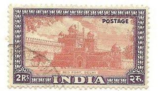 India Scott 219,  Red Fort,  Delhi, ,  1949 photo