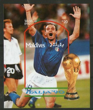 Maldives 1990 Italy Football World Cup Imperforate Miniature Sheet photo