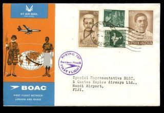 India Fiji 1965 1st Flight Bombay To Nadi Acceptance Boac London Nadi 1st Flight photo