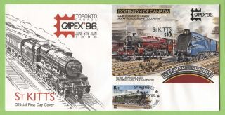 St.  Kitts 1996 Capex Exhibition Railway Stamp & Sheet First Day Cover photo