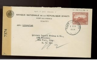 1944 Port Au Prince Haiti National Bank Censored Cover To Usa photo