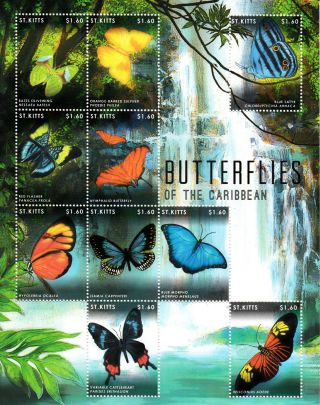 St Kitts 2013 Butterflies Of Caribbean 10v M/s Insects Olivewing Blue Morpho photo
