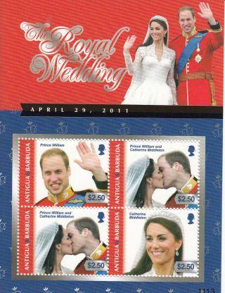 Antigua & Barbuda 2011 Royal Wedding 4v Sh Ii Prince William Kate Middleton photo