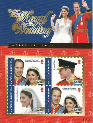 Antigua & Barbuda 2011 Royal Wedding 4v Sh I Prince William Kate Middleton photo