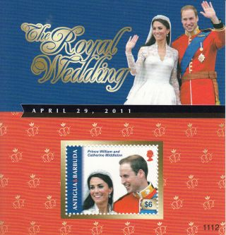 Antigua & Barbuda 2011 Royal Wedding 1v Sheet Prince William Kate Middleton photo