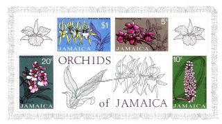 Jamaica Miniature Stamp Sheet Orchids Of Jamaica 1973 photo