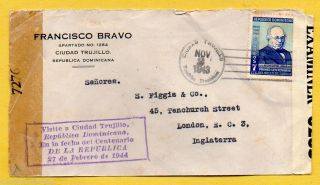 Dominican Republic 1943 Double Examiner Cover,  Visite A Ciudad Trujillo Cachet photo