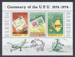 Barbuda Transport 1974 100 Year Upu Mi.  Bl10 Og Vf (a816). photo