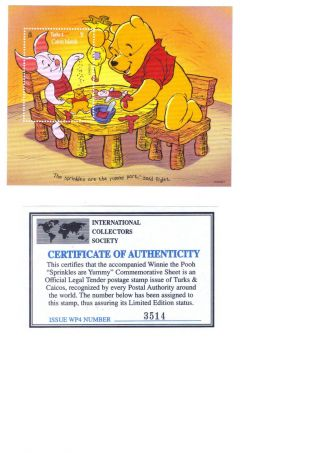 1996 Turks & Caicos Stamp Sheet (walt Disney Winnie The Pooh) photo