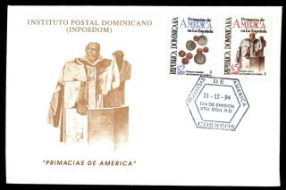 Dominican Republic 1993,  American Firsts In Hispaniola Fdc C5473 photo