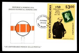 Dominican Republic 1990 Penny Black Anniv M/s Fdc C5497 photo