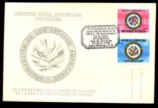 Dominican Republic 1998 Organisation Of American States Fdc C5555 photo
