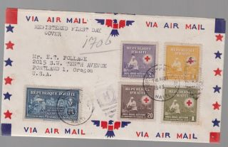 1945 Port Au Prince Haiti Airmail First Day Cover To Usa Red Cross photo