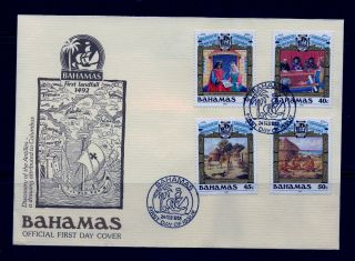 First Day Cover Discovery Of World Sc 640 - 643 Bahamas Fdc Cachet 1988 photo