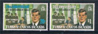Turks & Caicos 1983 J.  F.  Kennedy Sg 784/5 photo