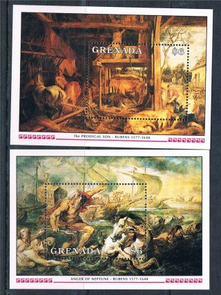 Grenada 1991 Death Of Rubens 2x Ms Sg 2194 photo