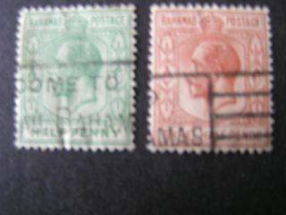 Bahamas,  Scott 70+73 (2) 1/2p+11/2p.  Value1921 - 34 Kgv Issue photo