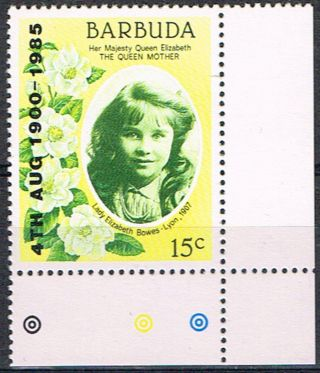 Barbuda 1985 Life & Times Of Qe Mother 15c Sg776 Red Omitted Error Fine photo
