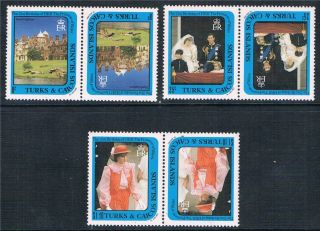 Turks & Caicos 1982 Dianas 21st Birthday Tete Beche Pairs Sg709/11 photo