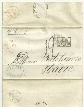 V Levy Stampless Wrapper Jacmel Haiti To Batchelor & Co Havre France Via Gb 1875 photo