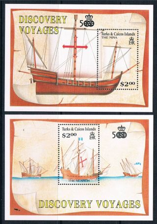 Turks & Caicos Is 1991 Anniv.  Of Columbus Ms Sg 1080 photo