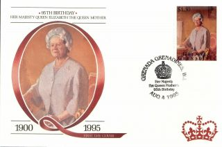 (18074f) Fdc Queen Mother 95th Birthday - Grenada Grenadines 1995 photo