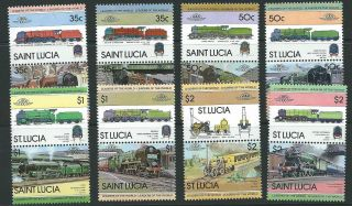 St.  Lucia Sg651/66 1983 Leaders Of The World Railway photo