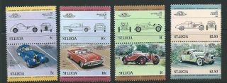 St.  Lucia Sg703/10 1984 Leaders Of The World Automobiles photo