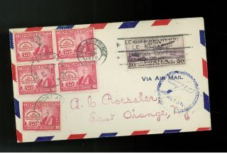 1929 Port Au Prince Haiti Airmail Cover To A Roessler Usa Mixed Franking photo