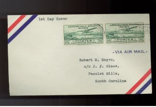 1930 Port Au Prince Haiti Airmail First Day Cover To Usa Pair C1 photo