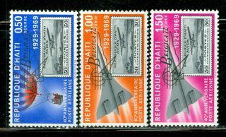 Haiti 1944 - 1972: Scott C384 - C386 40th Ann Air Post Belgica ' 72 Ovpt $$ photo