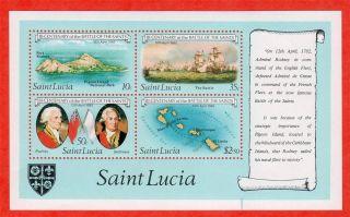 Saint Lucia Scott 586a Battle Of The Saints Og 1982 photo